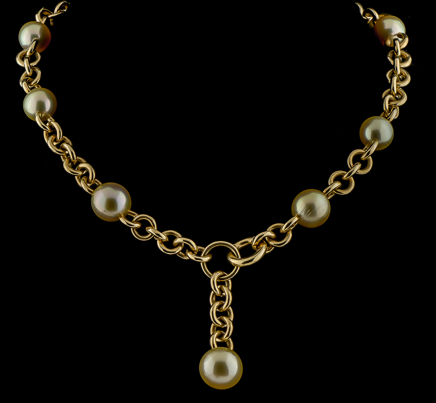 18k Yellow Gold And Golden Pearl Necklace
